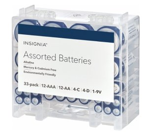 $8.99Insignia Assorted Batteries with Storage Box (33-Pack) White / Blue