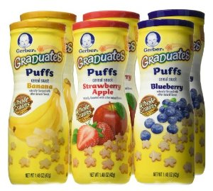 $9.97Gerber Graduates Puffs Cereal Snack, Variety Pack, Naturally Flavored with Other Natural Flavors, 1.48 Ounce, 6 Count