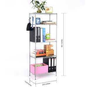 LANGRIA 5 Tier Modern Storage Organization Rack Shelving Rack Shelving Unit ,Silver