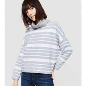 Lou & Grey Striped Rebound Terry Turtleneck