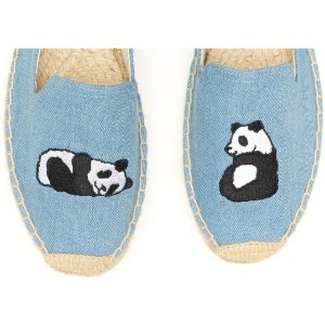 Soludos Jason Polan Panda Embroidered Smoking Slipper in Denim Panda - Soludos Espadrilles