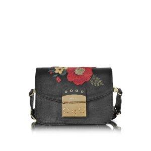 Furla Onyx Embroidered Satin Metropolis Floral Mini Crossbody Bag