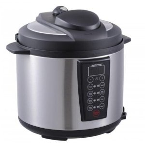$39.99 Black 1000-Watt 6-Quart Electric Pressure Cooker Brushed Stainless and Matte 603