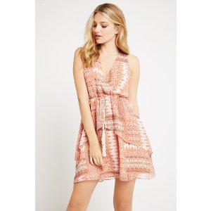 Patchwork Print Halter Dress