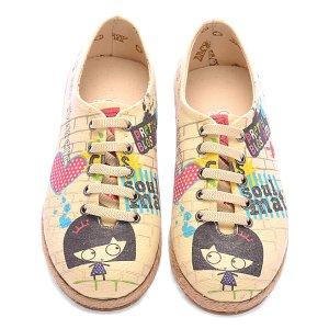 Goby Beige Girl Graffiti Sneaker - Kids | zulily