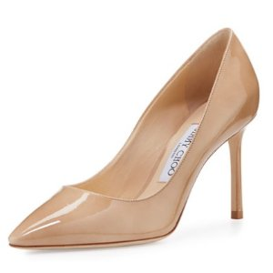 Jimmy Choo Romy Patent Pointed-Toe 85mm Pump, Nude
