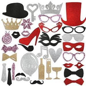 $5.99 PBPBOX Bling Photo Booth Props for Wedding Birthday Party - 36 PCS