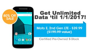 $39.99 Get UNLIMITED Talk, Text, & Data w/ Moto E, 2nd Gen LTE - FreedomPop