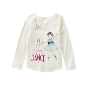 Girls White Let's Dance Tee by Gymboree