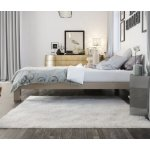 Stella Metal Platform Bed Frame - Modern, Finish - Thick and Wide Slats - Grey / Champagne