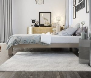 $153.18Stella Metal Platform Bed Frame - Modern, Finish - Thick and Wide Slats - Grey / Champagne