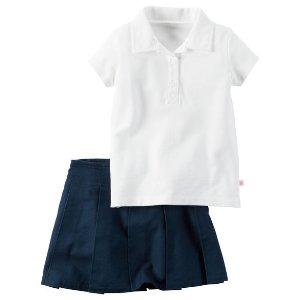 Kid Girl 2-Piece Polo & Skirt Uniform Set | Carters.com