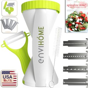 New & Updated 4-in-1 enviHome Zoodle Maker Vegetable Spiralizer