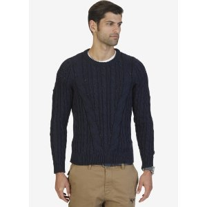 ROPE CABLE CREW SWEATER
