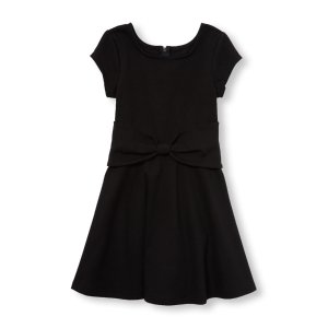 Girls Short Cap Sleeve Knotted Bow Ponte Flare Dress | The Children's Place