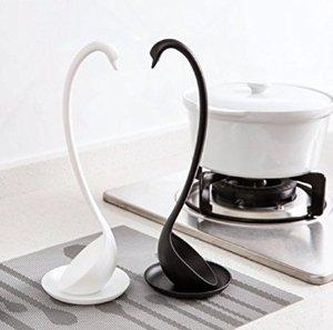 厨房也时尚!$7.79Codream 创意黑白天鹅汤勺四件套