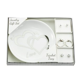 3-Pair Silver Earring Gift Set with Love Trinket Tray