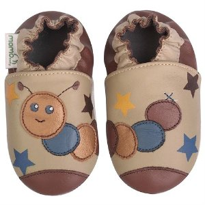 Momo Baby Soft Sole Leather Crib Bootie Shoes - Caterpillar - Rakuten.com