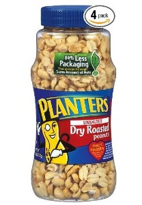 Planters Peanuts, Unsalted, Dry Roasted, 16-Ounce Jars (Pack of 4)