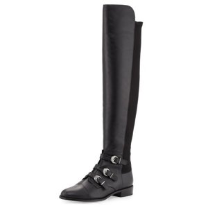 Stuart Weitzman Renegade Leather Over-The-Knee Boot, Black