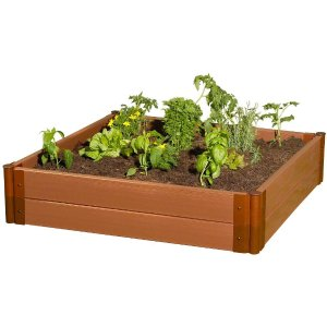Frame It All Two Inch Series 4 ft. x 4 ft. x 11 in. Composite Raised Garden Bed Kit-300001084 - The Home Depot