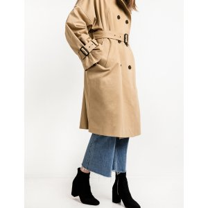 Tan Oversize Belted Trench