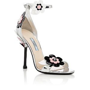 Prada Flower-Appliquéd Leather Sandals | Barneys New York