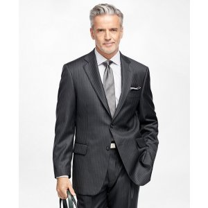 Men's Regular Fit Charcoal Striped 1818 Suit | Brooks Brothers