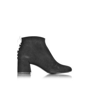 McQ Alexander McQueen Pembury Whip Stitch Black Suede Ankle Boot 35 (5 US | 2 UK | 35 EU) at FORZIERI