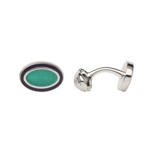Sterling Silver & Turquoise Enamel Guilloche Cufflinks | Gifts Gifts For Him, Official Links of London