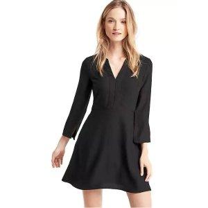 Satin fit & flare split neck dress