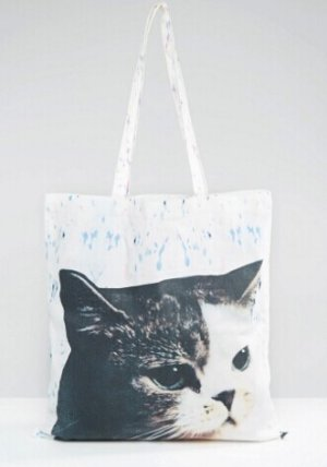 Monki Cat Canvas Shopper Bag @ ASOS