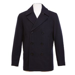 Double-Breasted Wool Blend Peacoat -