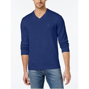 Tommy Hilfiger Men's Signature Solid V-Neck Sweater - Sweaters - Men - Macy's
