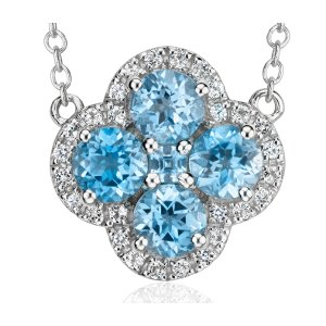 Blue Topaz Halo Clover Necklace in Sterling Silver (4mm) | Blue Nile