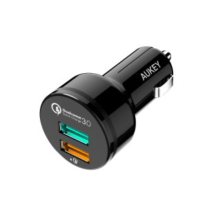 Aukey CC-T7 Dual USB Port Car Charger with Quick Charge 3.0