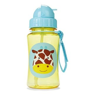 Skip Hop Baby Zoo Little Kid and Toddler Feeding Travel-To-Go Flip Top Straw Bottle, 12 oz, Multi Jules Giraffe
