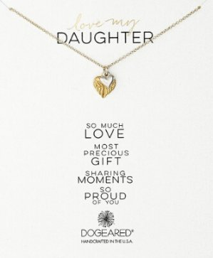 Dogeared Love My Daughter Feather Heart with Sterling Silver Cupid Heart Gold Dipped Chain Necklace