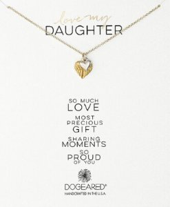 $26.63(reg.$78.00) Dogeared Love My Daughter Feather Heart with Sterling Silver Cupid Heart Gold Dipped Chain Necklace