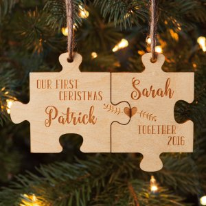 Our First Christmas Together Personalized Wood Ornament Set - Walmart.com