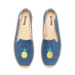 Soludos Pineapple Denim Blue Smoking Slipper for Women - Soludos Espadrilles