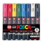 Uni Posca Paint Marker Pen, Extra Fine Point, Set of 8 Natural Color