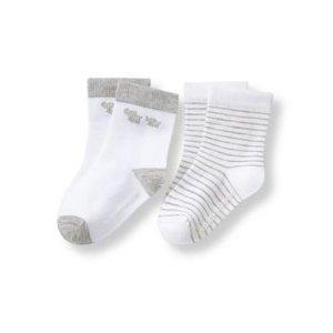 Layette White Elephant & Stripe Sock 2-Pack at JanieandJack