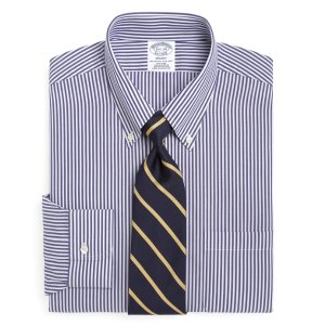 Men's Non-Iron Slim Fit Blue and White Bengal Striped Dress Shirt | Brooks Brothers
