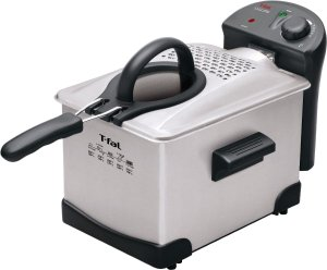 T-fal FR1014 Easy Pro Enamel Immersion Deep Fryer 3-Liters of Oil, 2.6-Pound, Silver