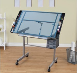 Studio Designs Vision Silver/Blue Glass Rolling Drafting and Hobby Craft Station Table