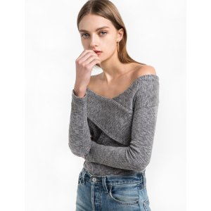 GREY RIBBED ASYMMETRIC OFF THE SHOULDER TOP