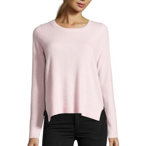 Hayden Pink Cashmere And Black Lace Mixed Media Sweater (382430703) | Bluefly