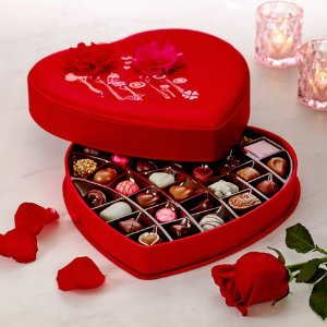 Valentine's Day Satin Embroidered Heart Chocolate Gift Box, 37 pc. | GODIVA