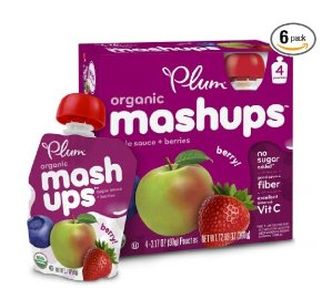 $8.53 Plum Kids Organic Fruit Mashups, Mixed Berry, 3.17 Ounce, 4 Count (Pack of 6)